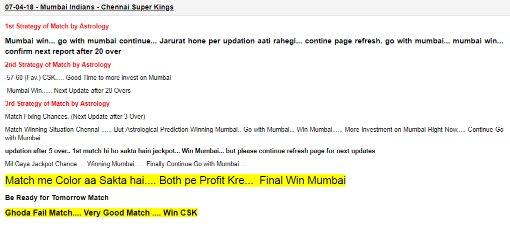 Mumbai vs CSK IPL Match Report