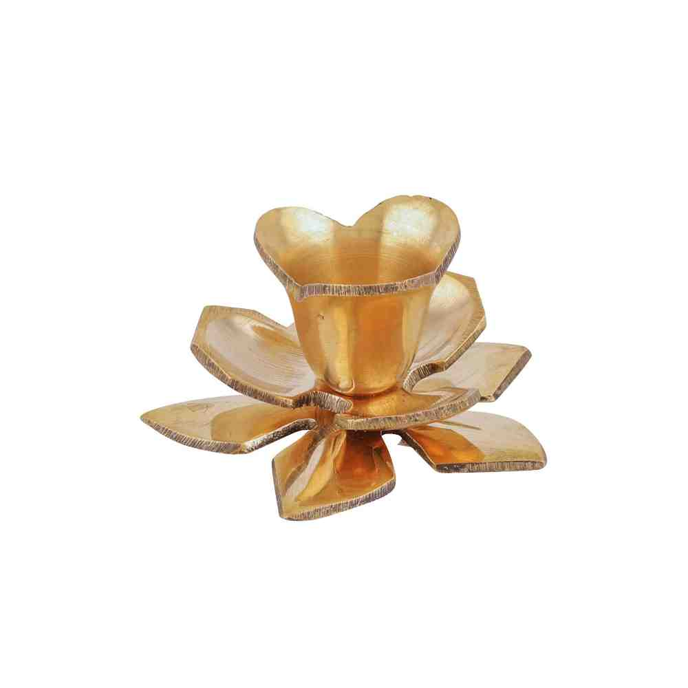 Candle Stand 3 step flower antique look in brass
