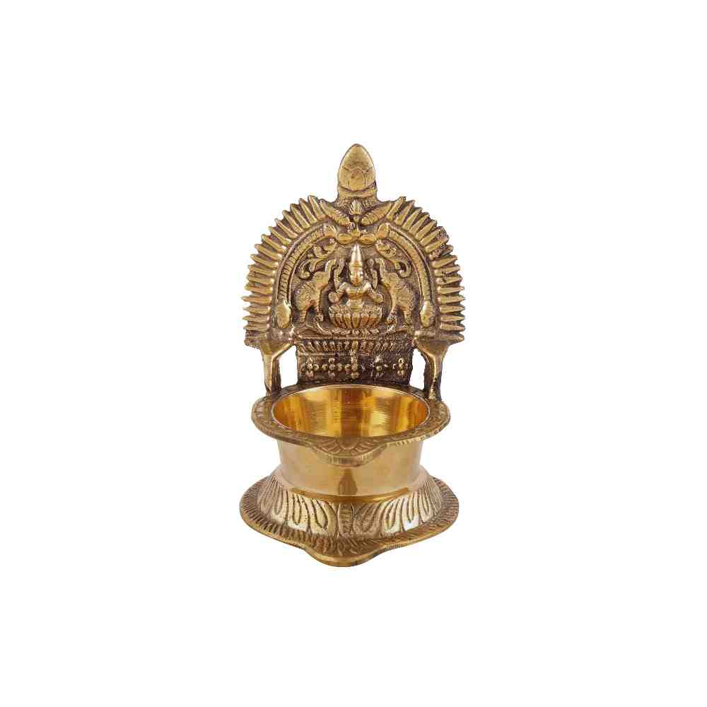 Lakshmi Diya Handwork Carving in Brass