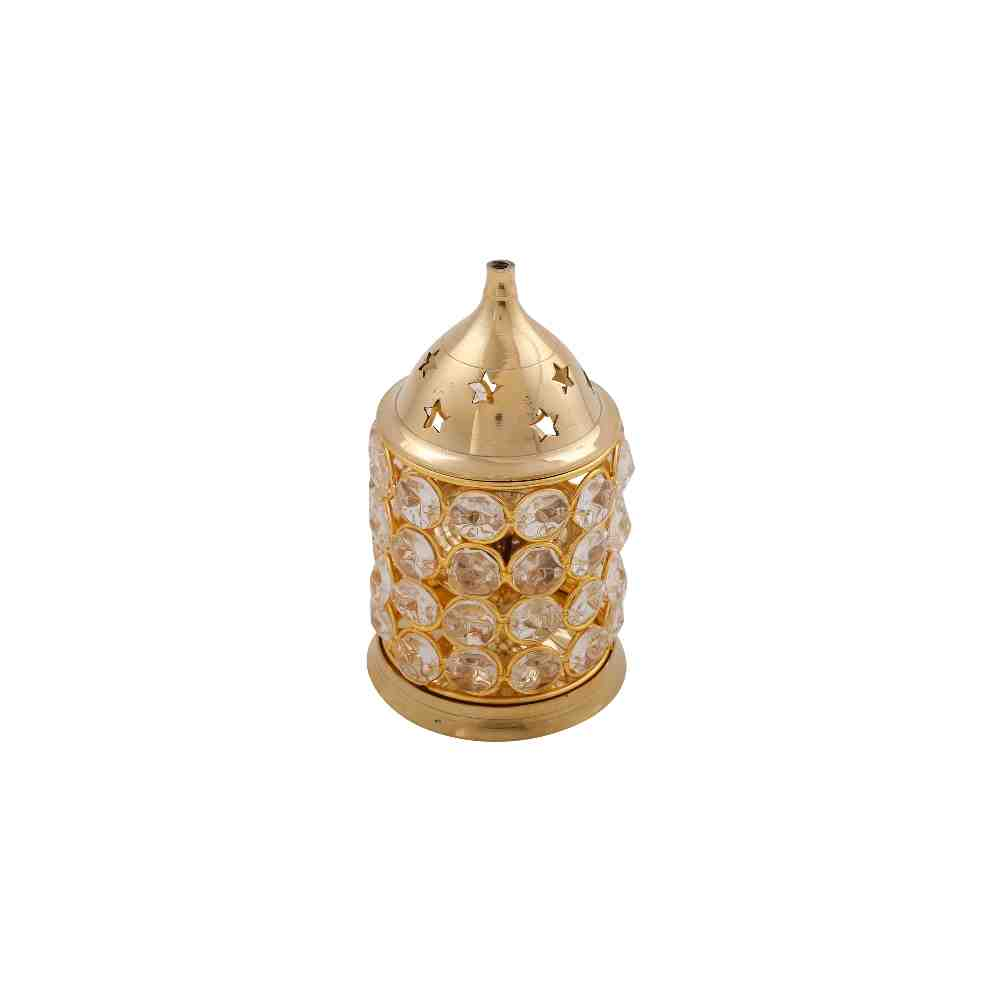 Akhand Diya in Brass Crystal Design