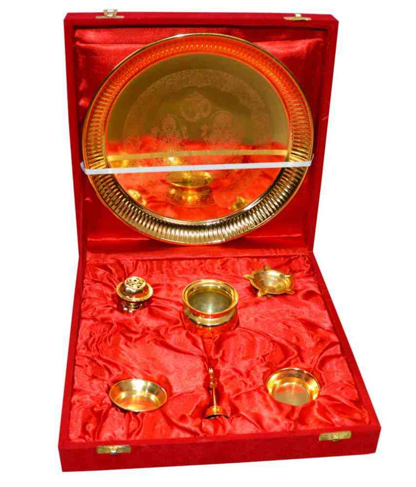 Pooja Thali Brass Gold plated (Pack Of 7)