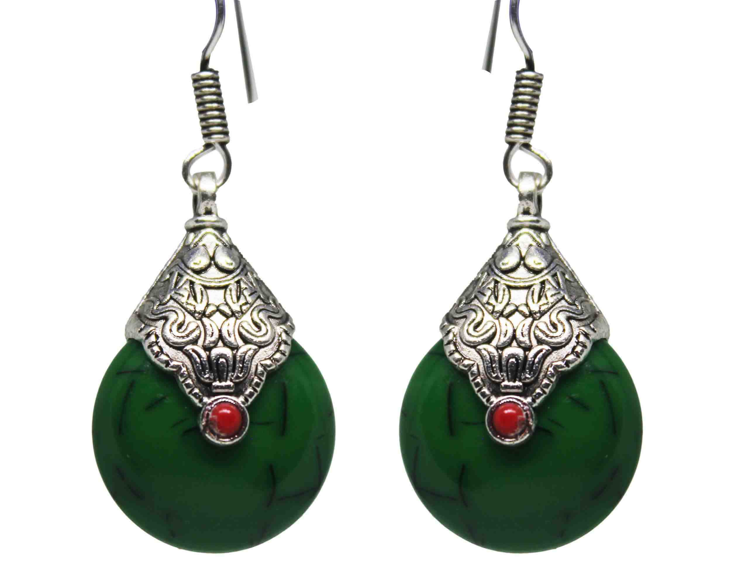 Silver Coated Dangle Green Stone Earrings