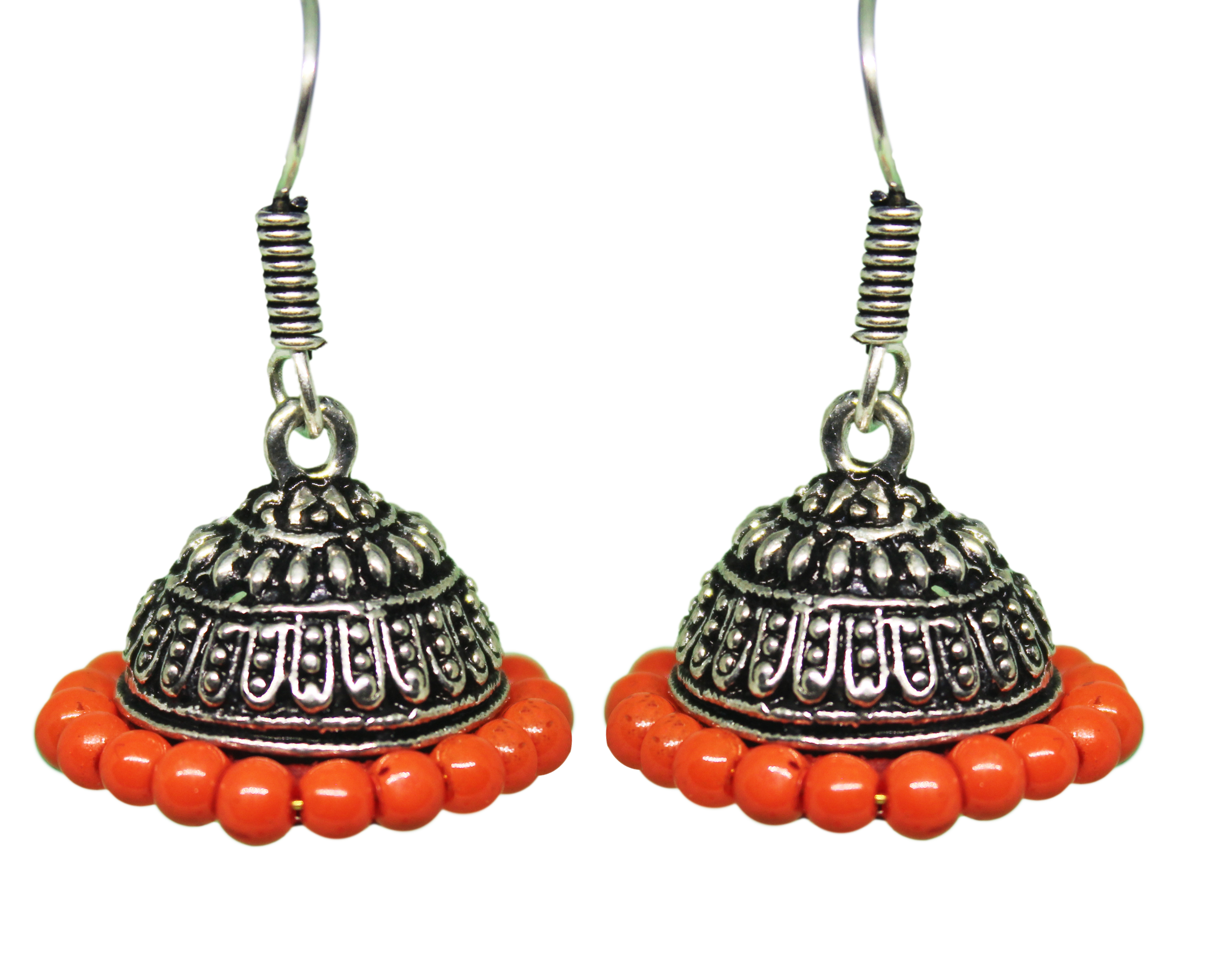 Silver Coated Orange Bead Jhumki Earrings