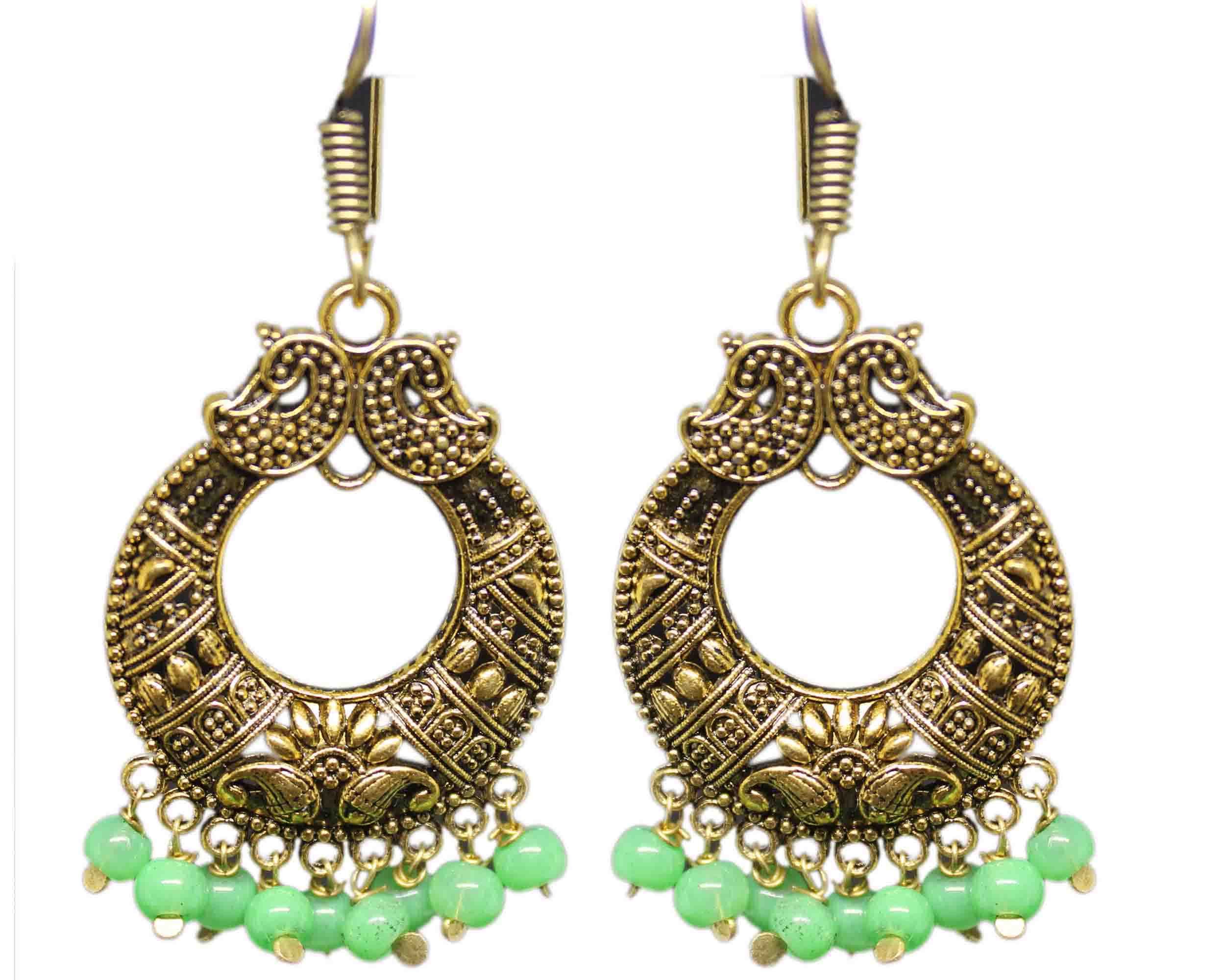 Silver Coated Chandbali Earrings with Green Beads
