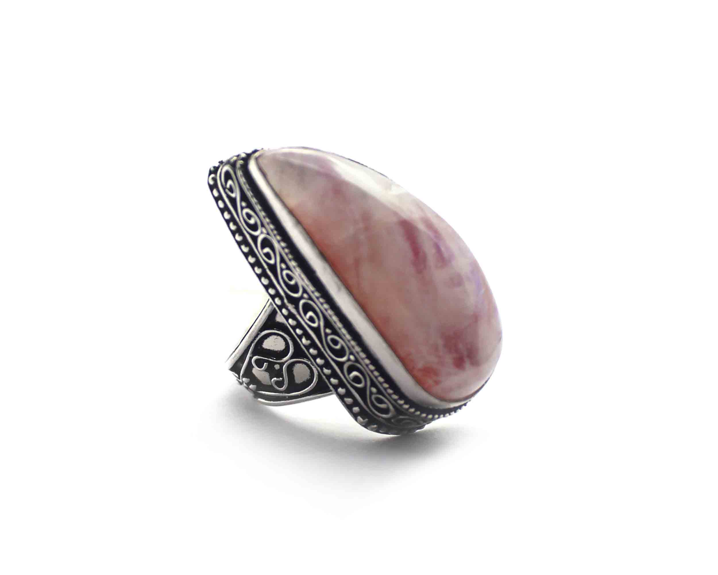 Rhodochrosite Silver Coated Ring Size US 8.75