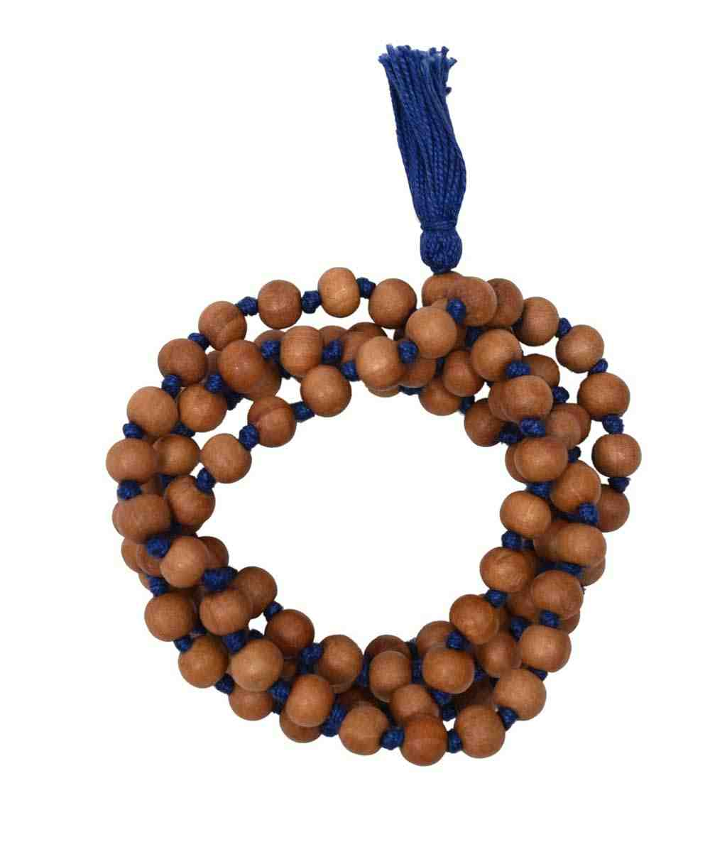 Chandan Mala In Blue Hand Knotted Thread